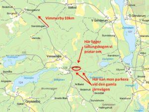 Enkel karta till tallsådden i Vassemåla. Kör in på den gamla järnvägen så kan man köra av vägen och parkera på två ställen. Gå gärna upp och kika på sådden.